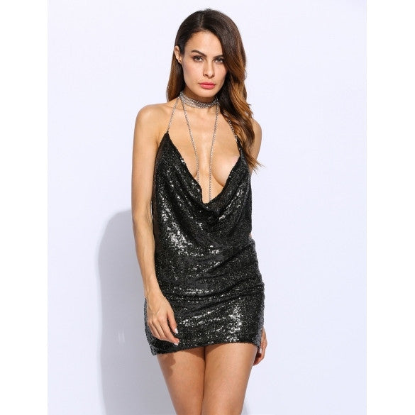 Fashion Women Sexy Spaghetti Strap Sequined Hollow Back Bodycon Mini Dress