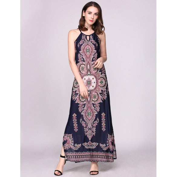 Sleeveless Halter Boho Styles Print Split Hem Beach Casual Maxi Dress