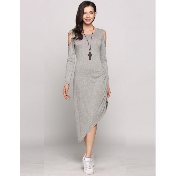 Cold Shoulder Long Sleeve O-Neck Asymmetrical Split Hem Solid Casual Dress