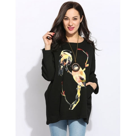 Animal Print Long Sleeve Round Collar Loose Casual Pullover Sweatshirt