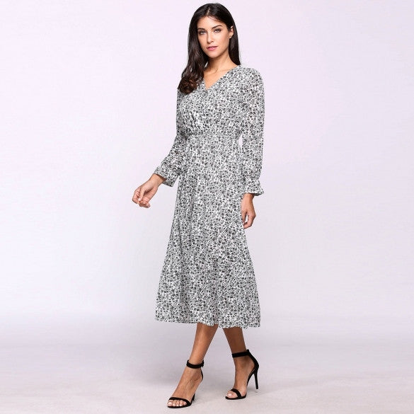 Boho Style Women Flare Sleeve V-Neck Floral Print Maxi Long Beach Dress