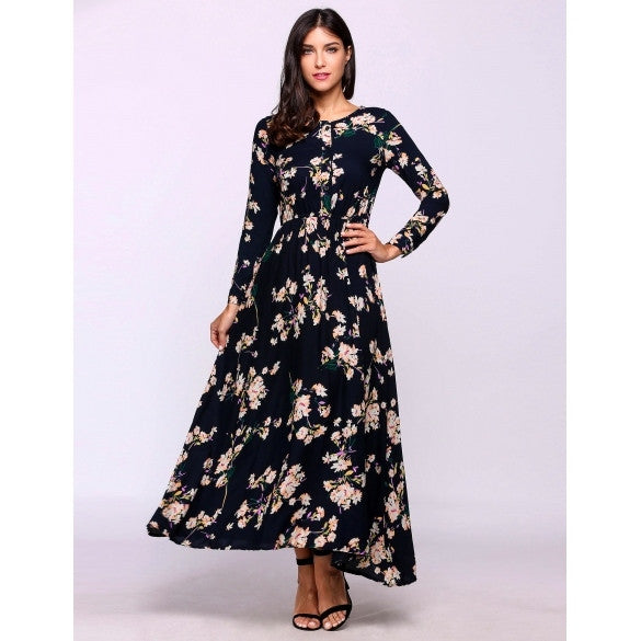 Floral Long Sleeve O-Neck Boho Style Maxi Beach Casual Dress