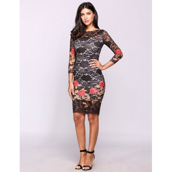 3/4 Sleeve Embroidery Round Neck Lace Bodycon Pencil Going Out Dress