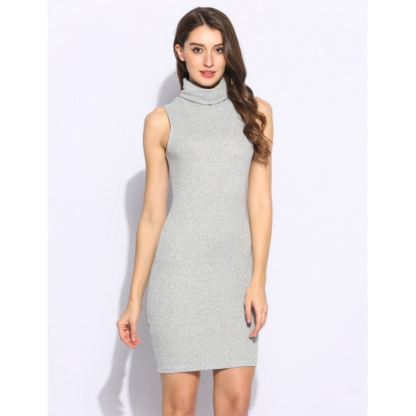 Vintage Women Sleeveless High Neck Knitting Solid Bodycon Pencil Dress