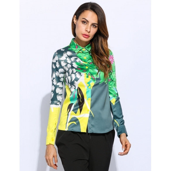 Green Printed Turn-Down Collar Long Sleeve Soft Shirt