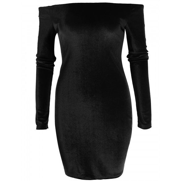 Fashion Women Sexy Slash Neck Long Sleeve Solid Off Shoulder Elastic Pullover Lint Slim Dress