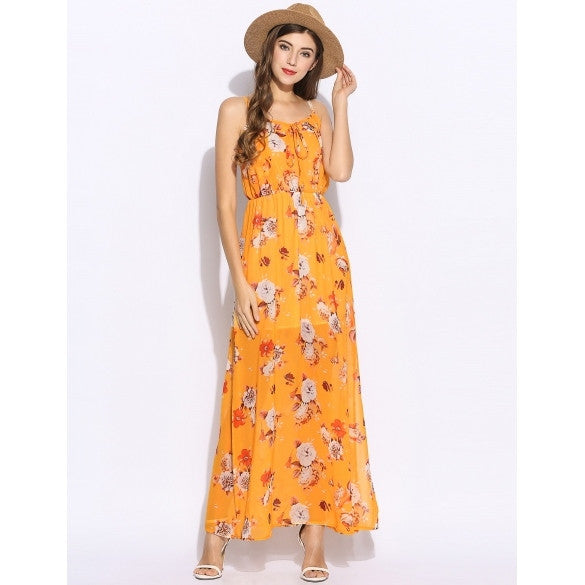 Casual Women Sleeveless Spaghetti Strap Chiffon Floral Backless Maxi Beach Dress