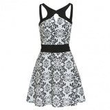 Sleeveless Spaghetti Strap Backless Floral Cut Out Skater Party Dress