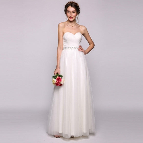 Women A-Line/Princess Sweetheart Floor-Length Tulle Wedding Dress With Ruffle Beading