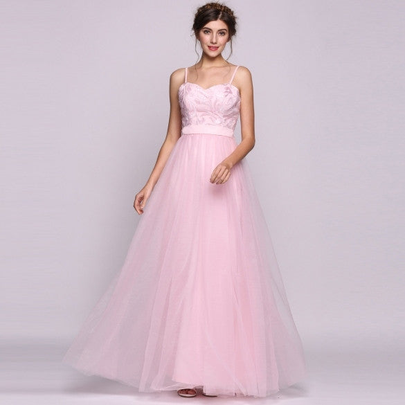 Women A-Line/Princess Sweetheart Floor-Length Tulle Bridesmaid Dress With Sequins Bow