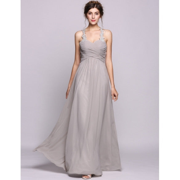 Women A-Line/Princess Sweetheart Floor-Length Chiffon Bridesmaid Dress With Ruffle