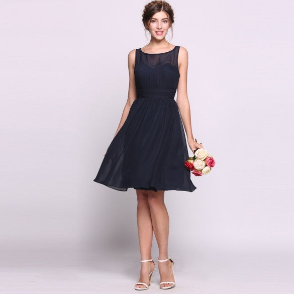 Women A-Line/Princess Scoop Neck Knee-Length Chiffon Bridesmaid Dress With Ruffle