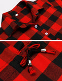 Women Long Sleeve Single-Breasted Turn-down Collar Tunic Drawstring Plaid Shirt Dress