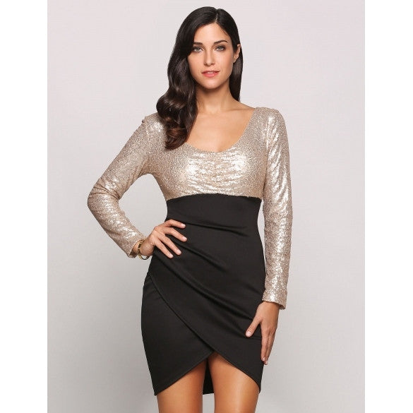 Sequin Long Sleeve Plunge Collar Bodycon Patchwork Wrap Party Dress