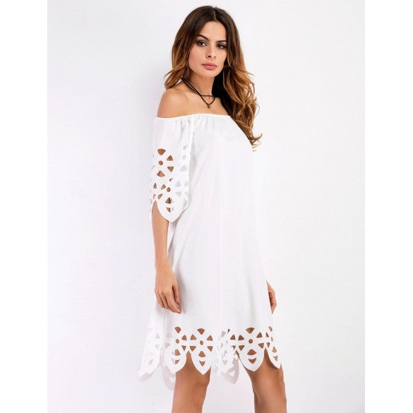 3/4 Sleeve Off The Shoulder Cut Out Solid Shift Going Out Dress