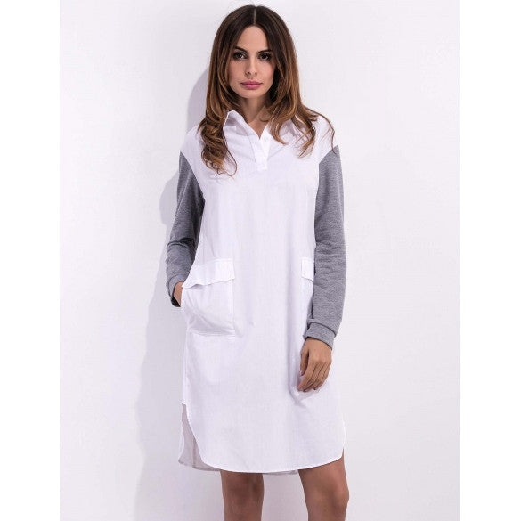 Women Long Sleeve Turn Down Collar Patchwork Pullover Casual Shirt Dress