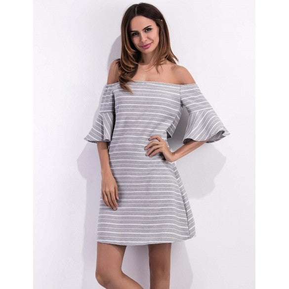 Women 3/4 Bell Sleeve Striped Off The Shoulder A-Line Casual Dress