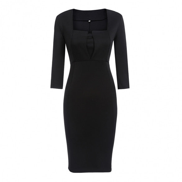 3/4 Sleeve Square Collar Solid Split Hem Pencil Party Dress