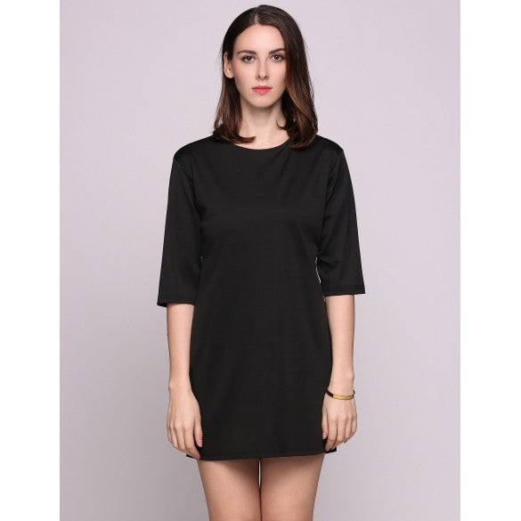 Half Sleeve Round Collar Back Button Solid Straight Going Out Dress