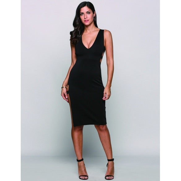 Sleeveless Plunge Collar Cut Out Side Split Pencil Party Dress