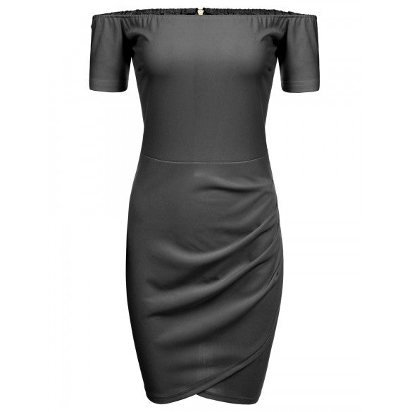 Off Shoulder Short Sleeve Bodycon Cross Hem Solid Going Out Dress