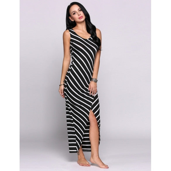 Sleeveless U Collar Stripes Split Hem Maxi Pencil Going Out Dress