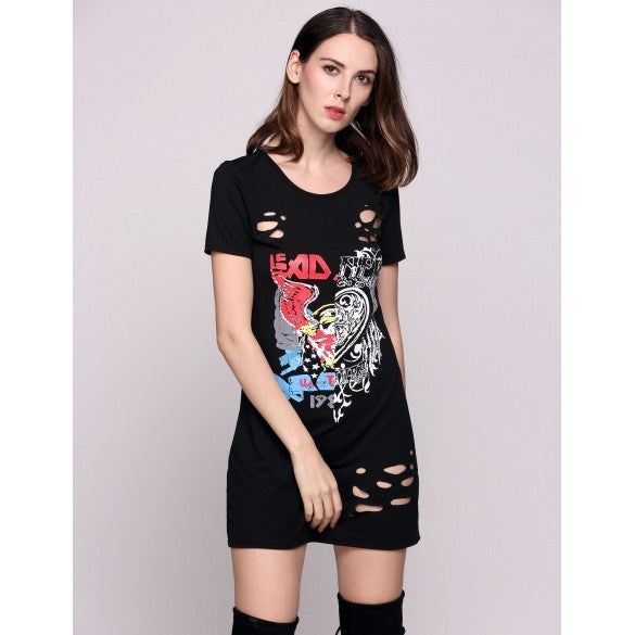 Short Sleeve Round Collar Animal Print Sexy Hole Tee Going Out Dress