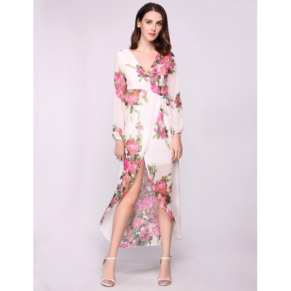 Plunge Neck Puff Sleeve Boho Style Floral Maxi Split Hem Beach Casual Dress