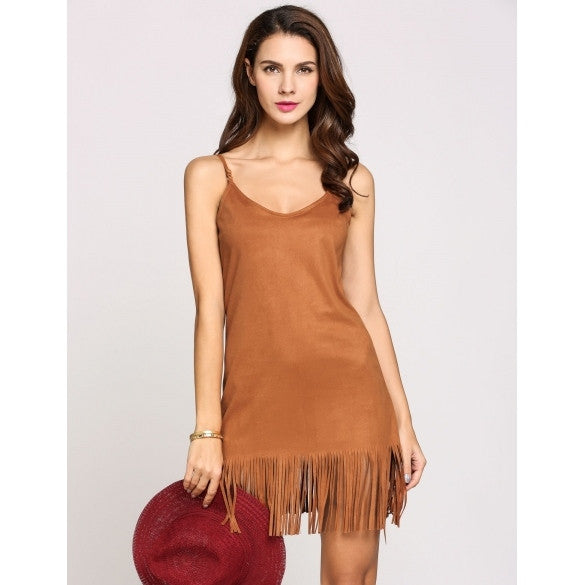 Spaghetti Strap Sleeveless Fringes Hem Solid A-Line Going Out Dress