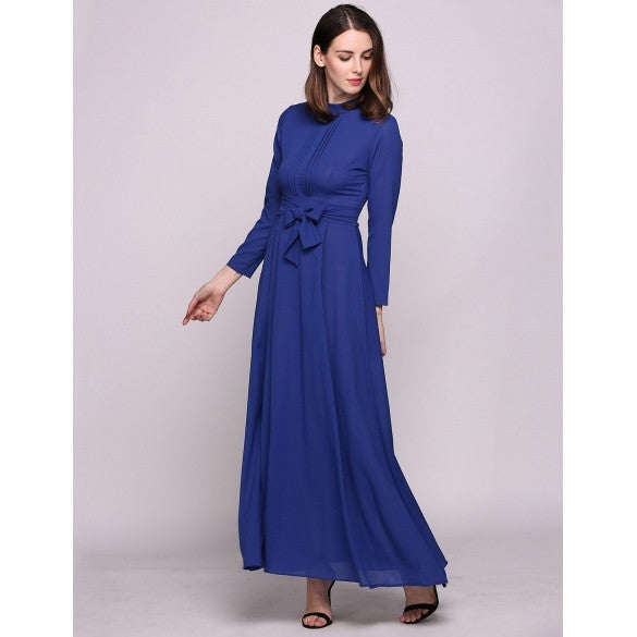 Long Sleeve Round Collar Vintage Styles Solid Belted Casual Dress