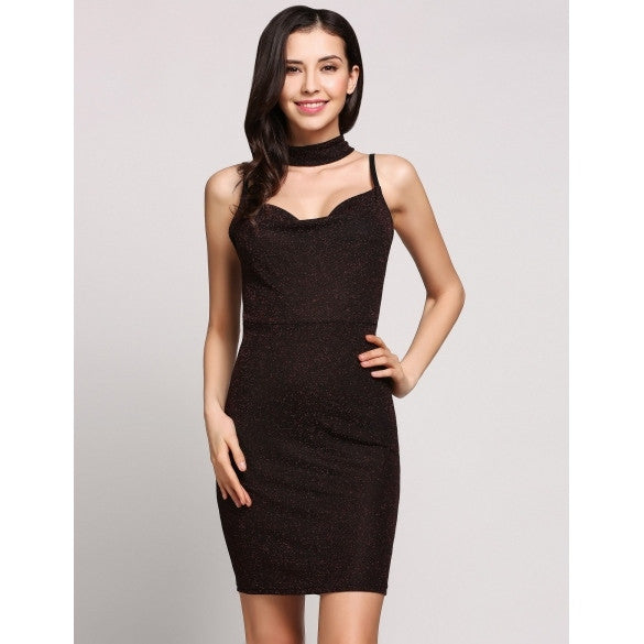 Spaghetti Strap Sleeveless Glitter Chocker Bodycon Party Dress