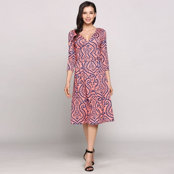 Plunge Neck 3/4 Sleeve Boho Styles Print Beach Casual Dress