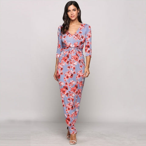 3/4 Sleeve Floral V Neck Boho Styles Ruched Maxi Casual Dress