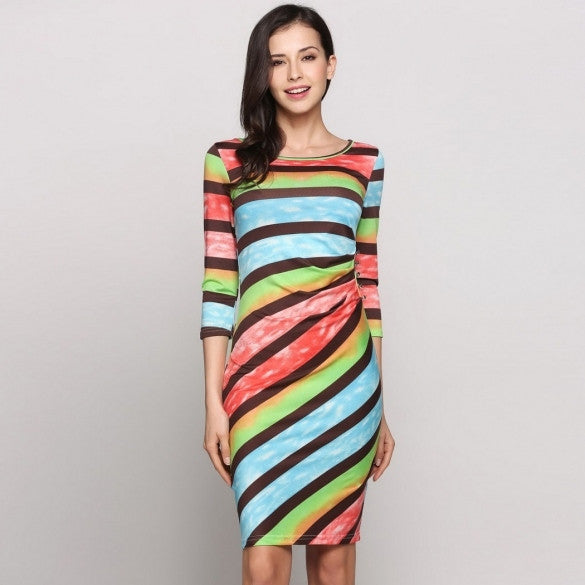 Rainbow Color 3/4 Sleeve Round Neck Button Side Stripes Casual Dress