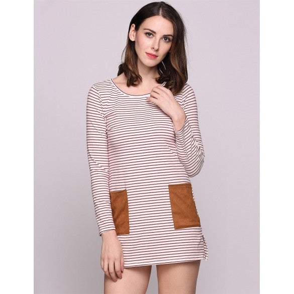 Long Sleeve Stripes Round Collar Pockets Size Loose Casual Dress