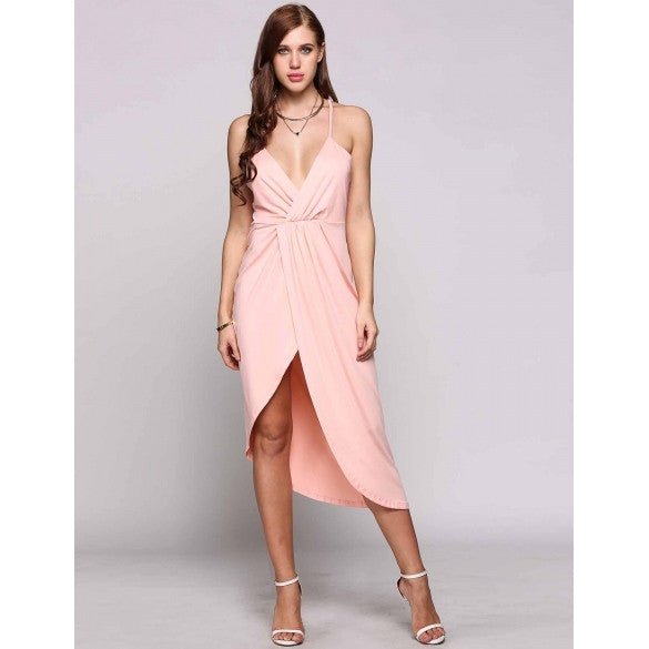 Backless Spaghetti Strap Plunge Collar Asymmetrical Cross Hem Going Out Dress