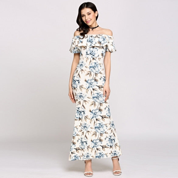 Sleeveless Off The Shoulder Ruffles Print Maxi Boho Style Casual Dress