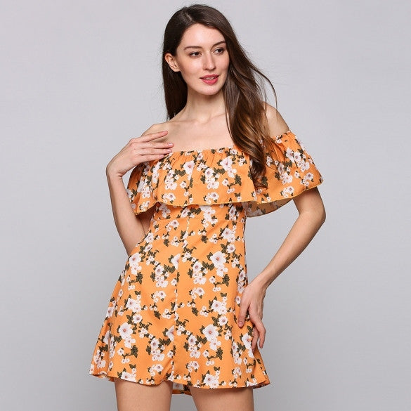 Off The Shoulder Sleeveless Flower Print A-Line Mini Ruffles Casual Dress