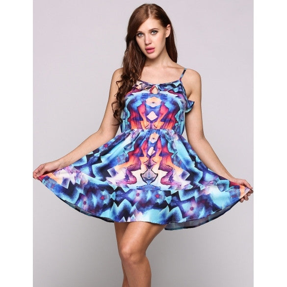 Sleeveless Spaghetti Strap Print Mini Skater Casual Dress