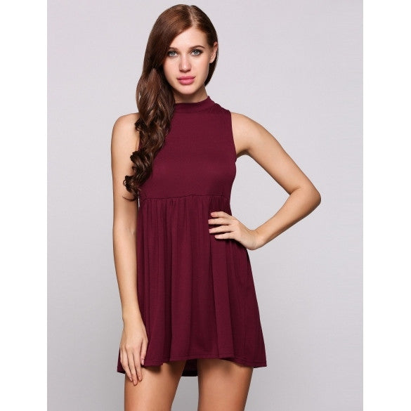 Backless Stand Collar Sleeveless Solid Mini Shift Casual Dress