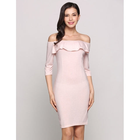 3/4 Sleeve Off The Shoulder Ruffles Solid Pencil Going Out Dress