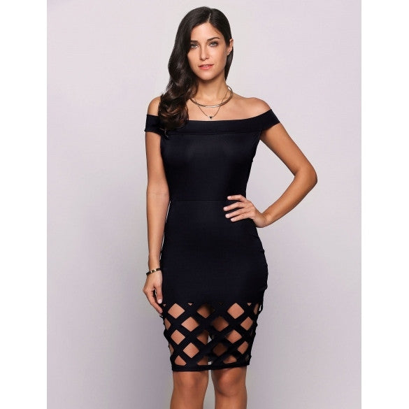 Sleeveless Off The Shoulder Hollow Out Solid Pencil Party Dress