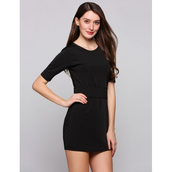 Short Sleeve Round Collar Solid Bodycon Belted Side Pockets Party Dress