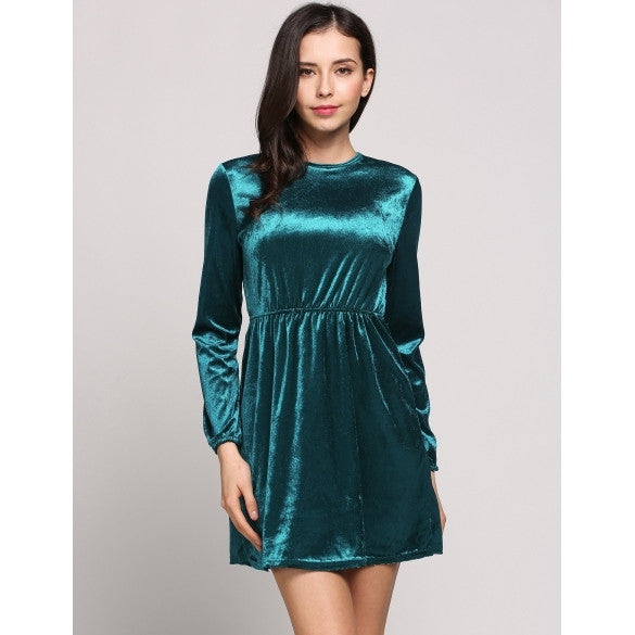 Velvet Long Sleeve O-Neck Solid Skater Backless Going Out Dress