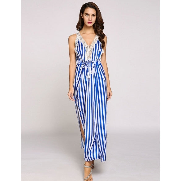 Sleeveless Plunge Collar Stripes Patchwork Split Hem Boho Style Casual Dress