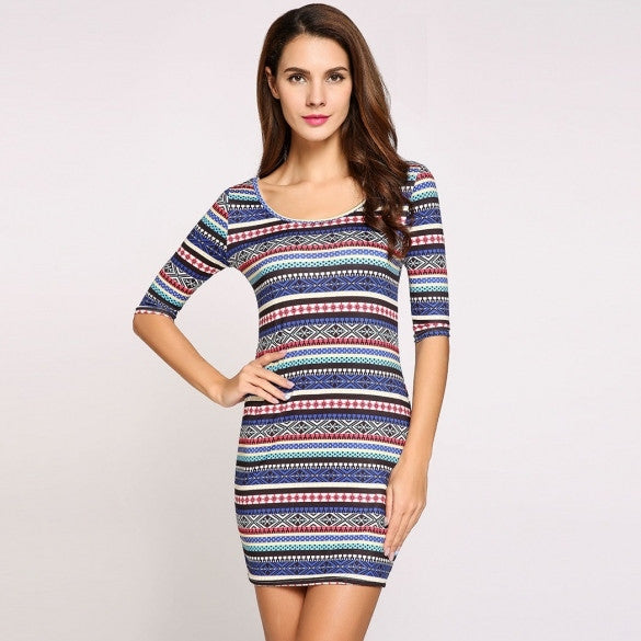 3/4 Sleeve Round Collar Ethnic Styles Bodycon Silm Going Out Dress