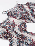3/4 Sleeve Cold Shoulder Spaghetti Strap Print Casual Dress