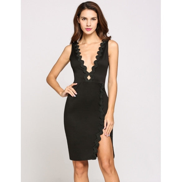 Sleeveless Plunge Collar Lace Pencil Split Hem Party Dress