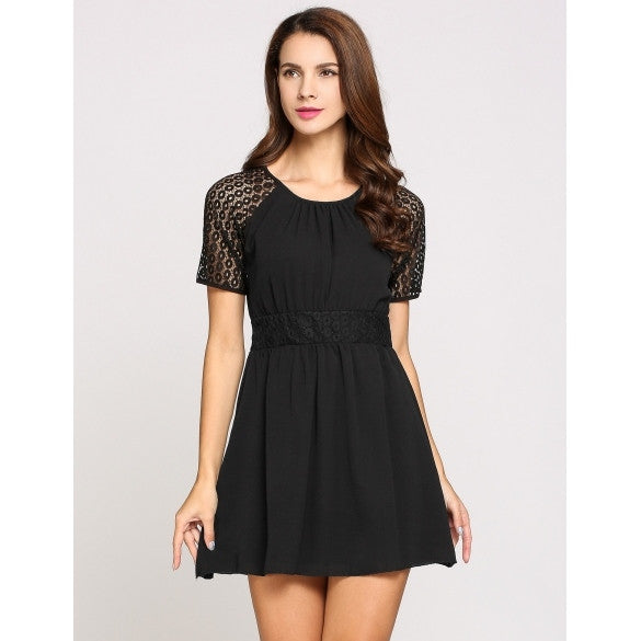 Short Sleeve Round Collar Lace Patchwork Skater Going Out Dress
