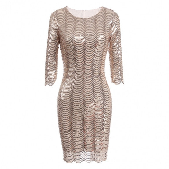 3/4 Sleeve Sequins Round Collar Vintage Styles Bodycon Club Party Dress